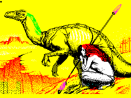 Woman and dinosaur